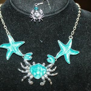 Sea Life Silver Tone Crab & Starfish Necklace set